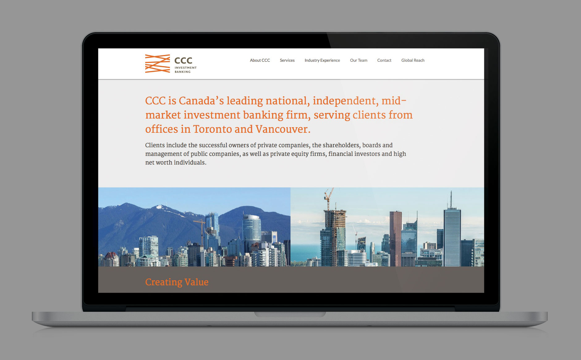 CCC Investment Banking website desktop