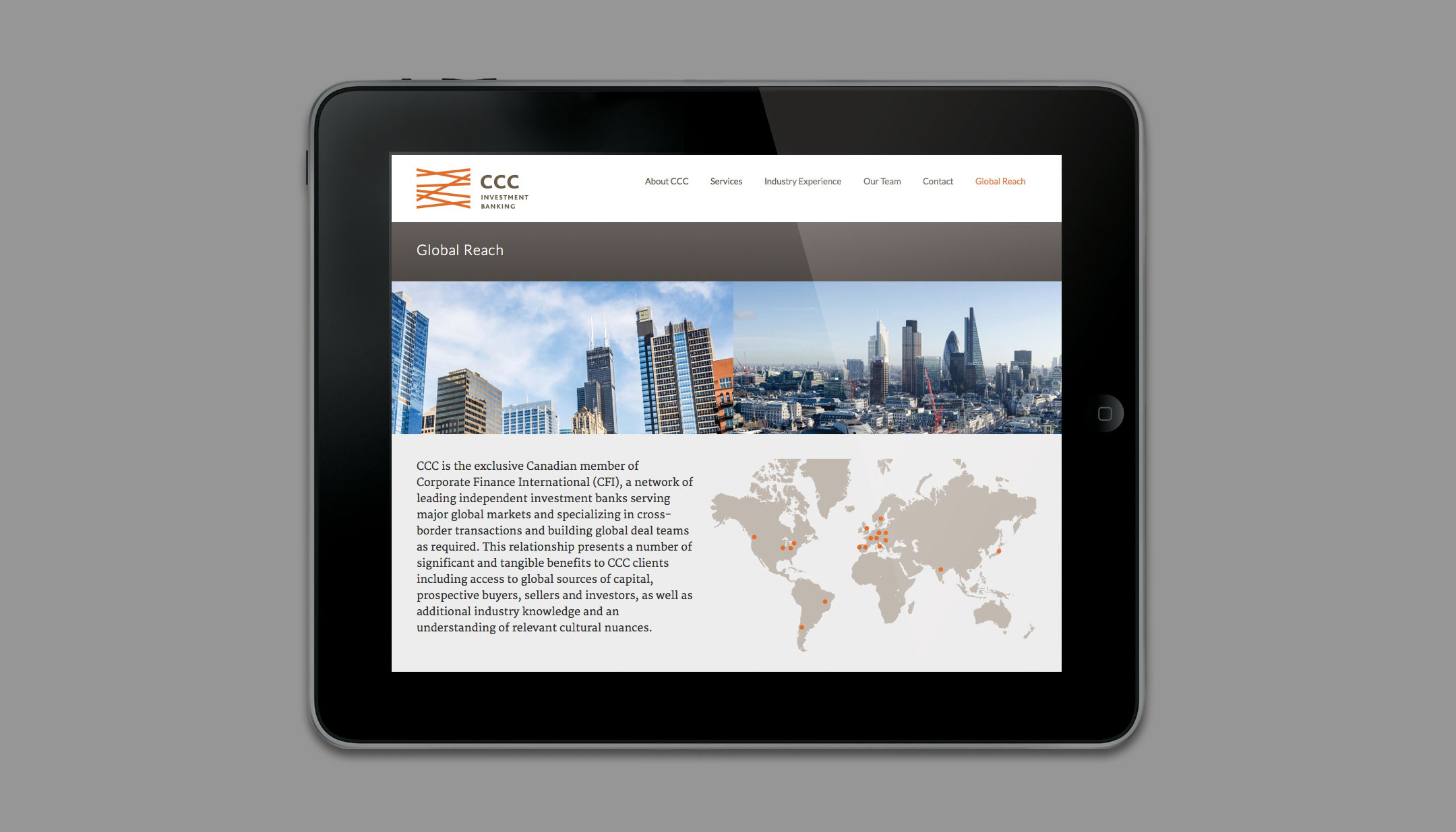CCC Investment Banking website tablet