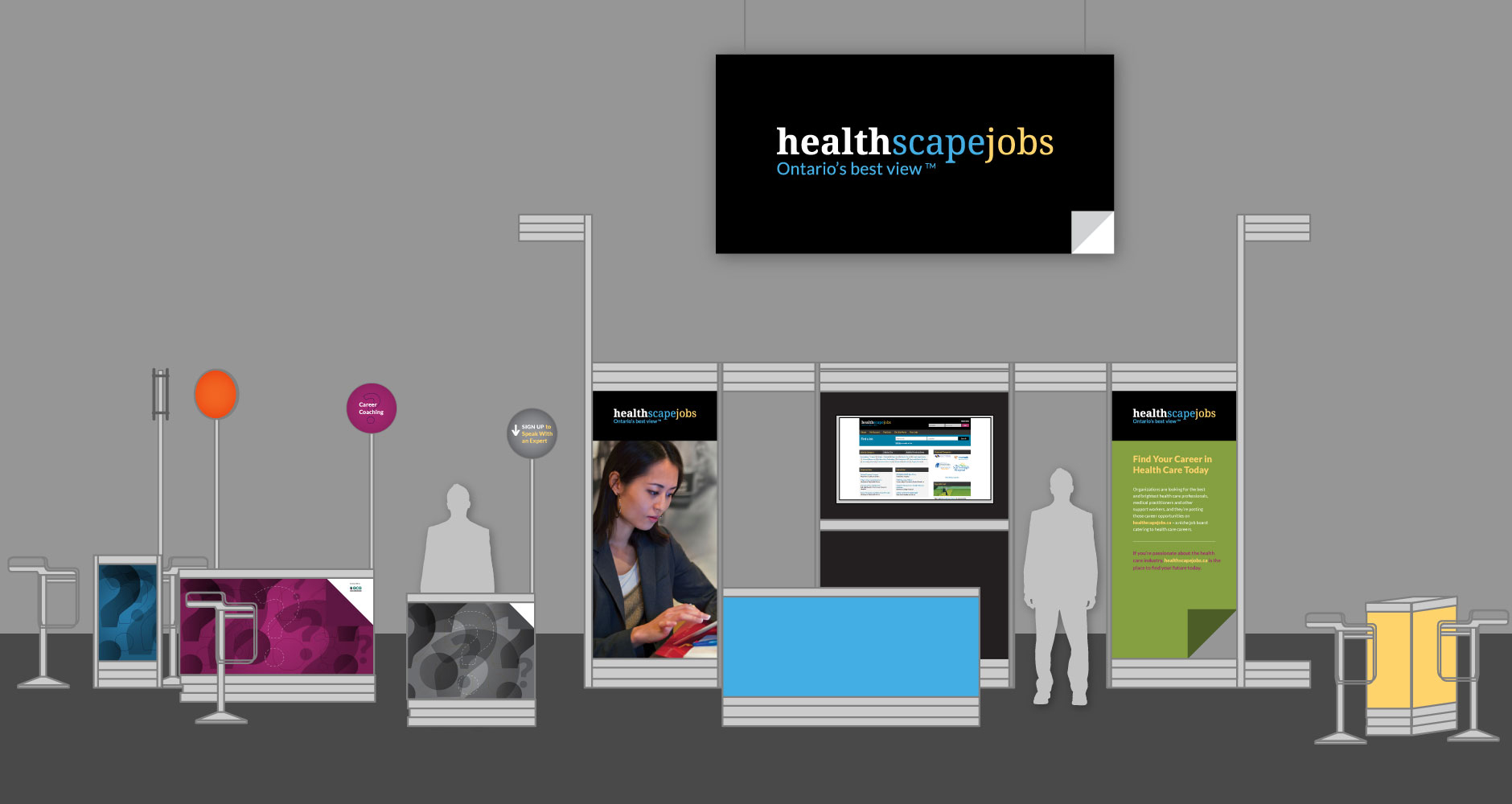 Healthscape jobs booth mockup