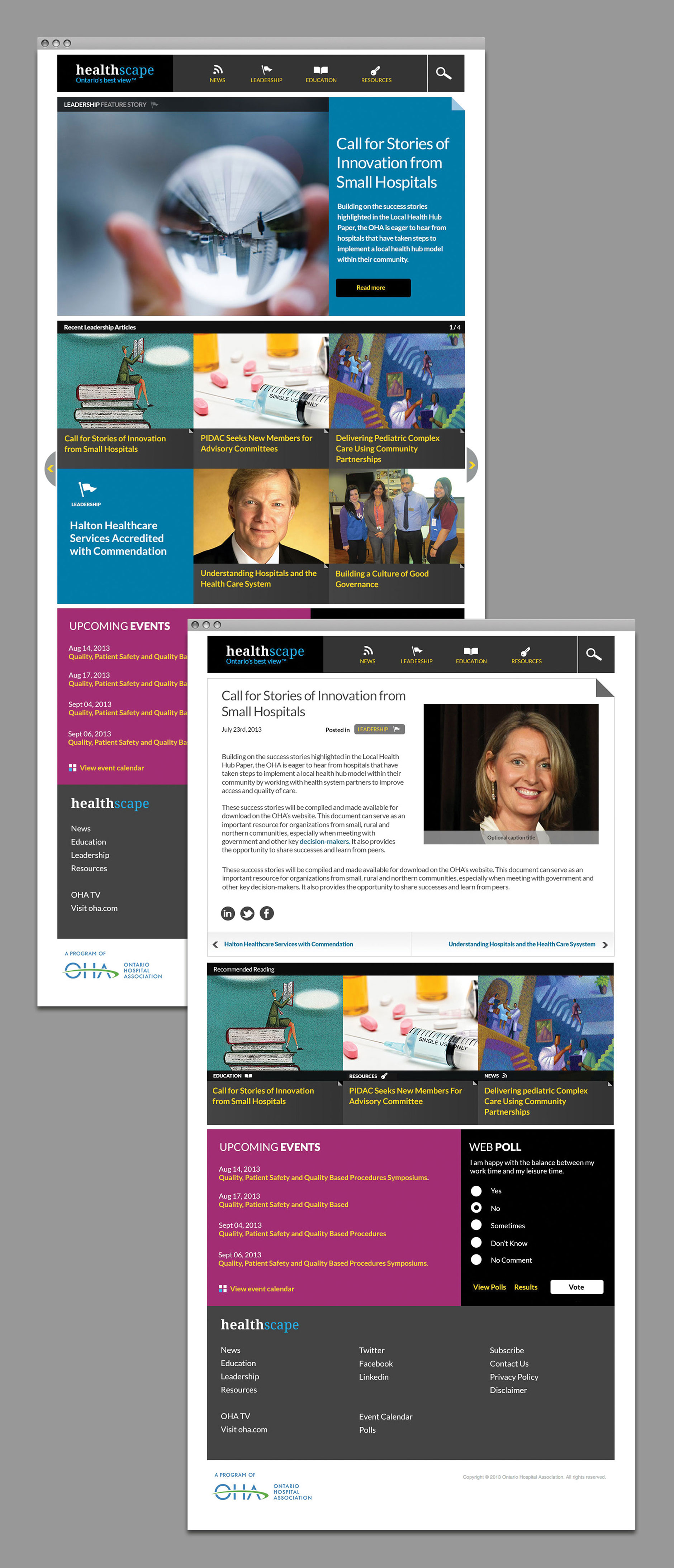 HealthAchieve website pages