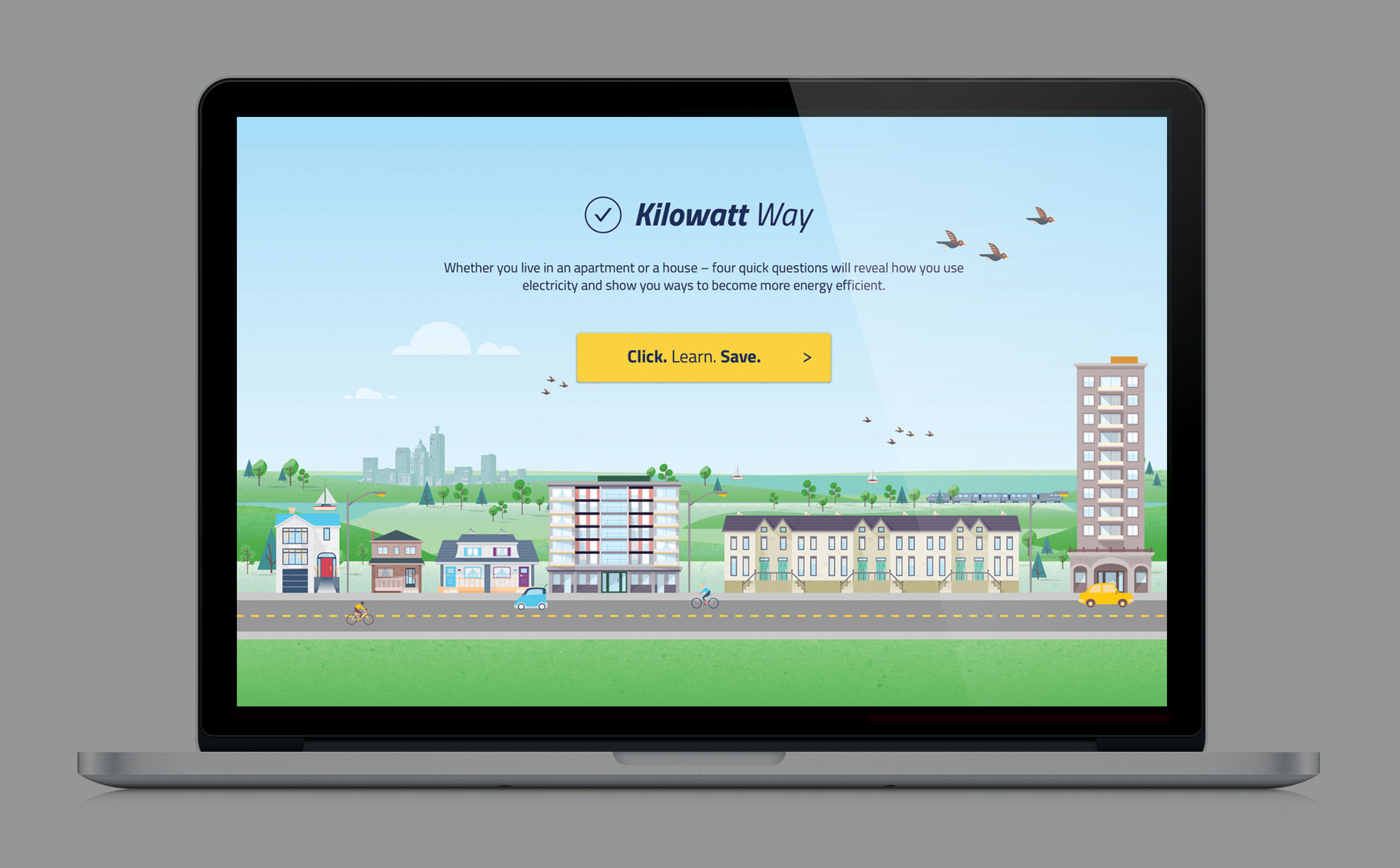 Kilowatt Way homepage laptop