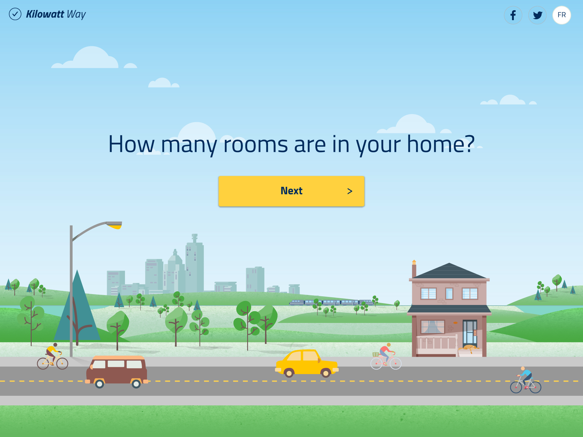 Kilowatt Way question screen - how many rooms are in your home?