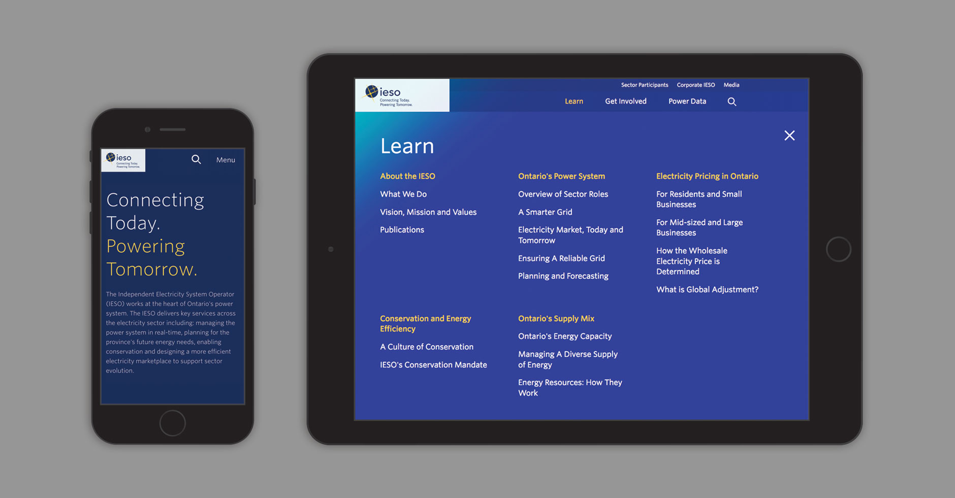 IESO website mobile and tablet view