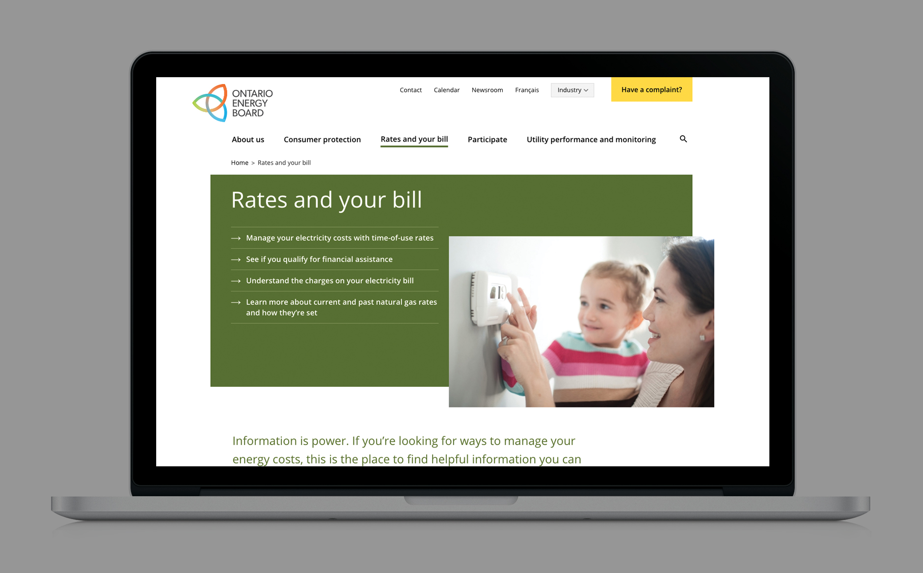 OEB website Rates and Bill page
