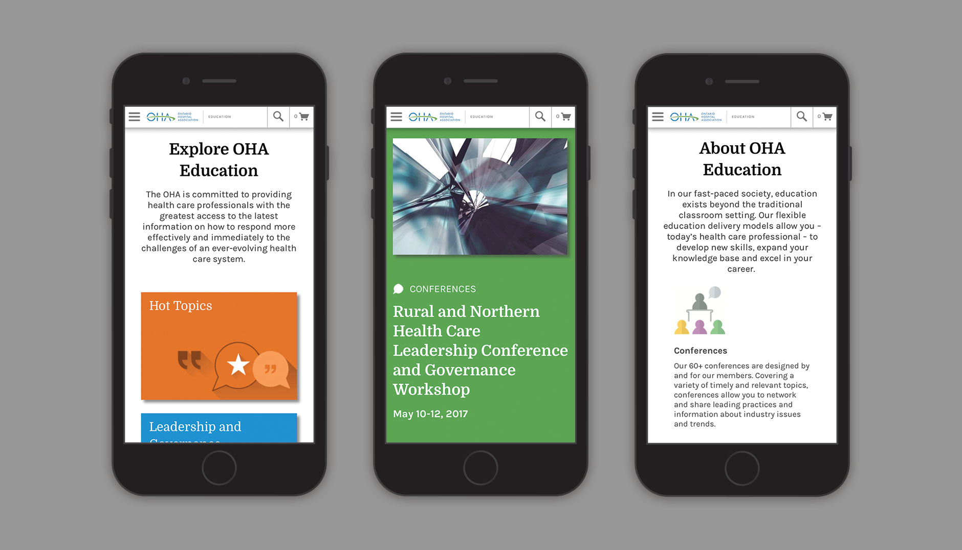 OHA Education website mobile view