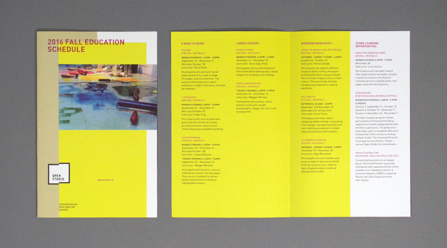 Open Studio education brochure