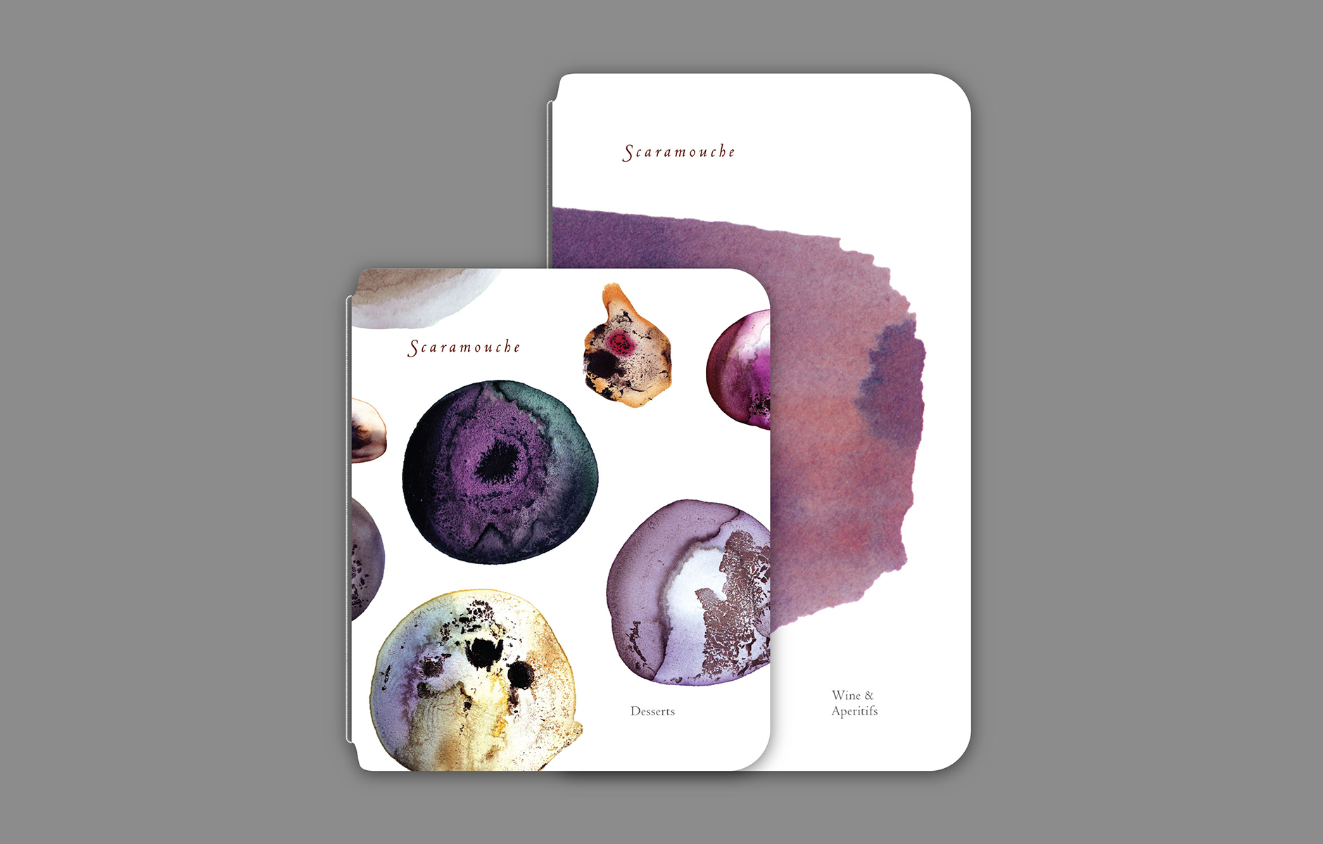 Scaramouche Menu cover - wine and desserts